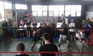 Hard at training at the first Bad Luck Fale seminar!